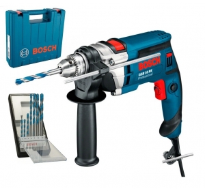Дрель ударная Bosch Professional GSB 16 RE (060114E500) + Кейс + Набор сверел Robust Line CYL-9 MultiConstruction (7 шт.) (0615990L2N)